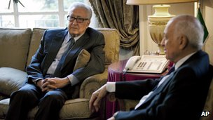 UN-Arab League peace envoy, Lakhdar Brahimi (L) meets the head of the Arab League, Nabil al-Arabi (R) on Sunday.