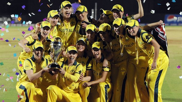 Australia celebrate with the World Cup trophy
