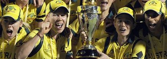 Australia celebrate with the World Cup