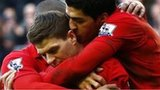 Steven Gerrard is congratulated by Liverpool team-mates