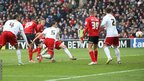 Fraizer Campbell fires home through a crowd to double Cardiff's lead against Bristol City
