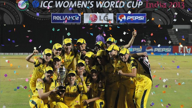 2013 Women's World Cup winners Australia celebrate