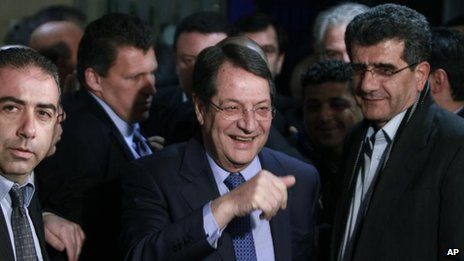 Nicos Anastasiades arrives for post-polling news conference, Nicosia (17 Feb)