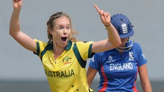 Australia pacer Holly Ferling celebrates claiming the wicket of England's Jennifer Gunn