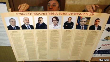 An election commission official puts up a poster with information about the candidates in Armenia's presidential election (17 February 2013)