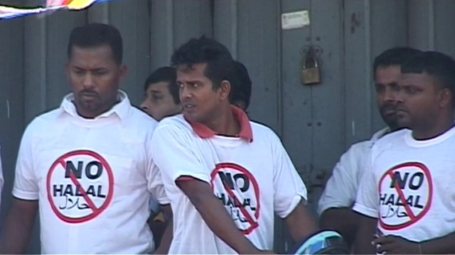 Men wearing No Halal t-shirts