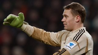 Bayern Munich's Manual Neuer with his four-fingered goalkeeping glove