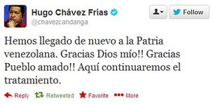 Screengrab of Hugo Chavez's tweet