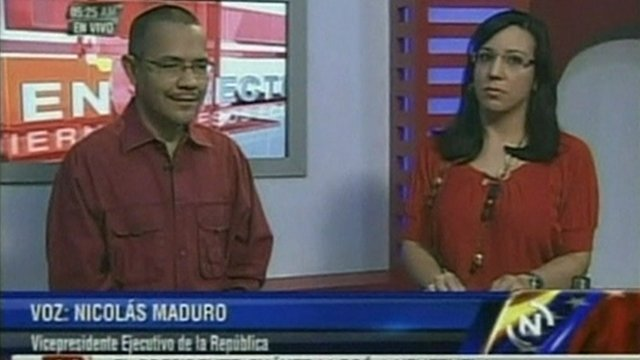 Information Minister Ernesto Villegas makes the announcement on VTV