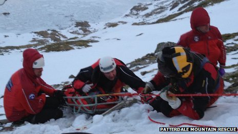 Boy being rescued in Lake District