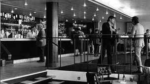 The club bar at Television Centre in the sixties