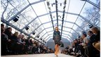 A model on the catwalk during the Burberry Prorsum catwalk show