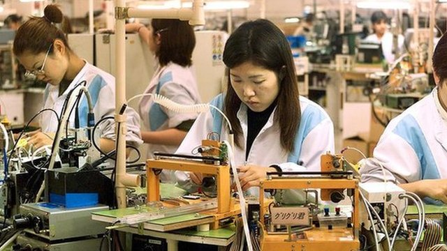Workers of Japanese electronics giant Sony