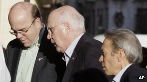 US Senator Patrick Leahy, centre, accompanied by US Congressman Jim McGovern, left, arrives at a hotel in Havana, Cuba 18 February 2013