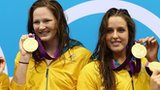 Australia's women's 4 x 100m freestyle relay team celebrate their gold medals on 28 July 2012