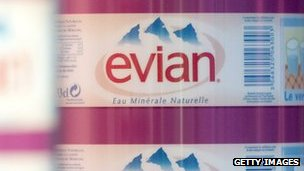 Evian water bottles