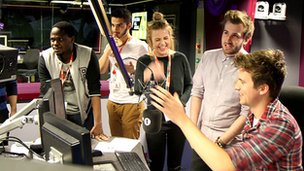 Radio 1 interns with Greg James