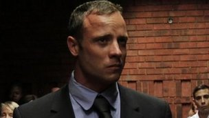 Oscar Pistorius in court, 19 February - picture taken before proceedings began