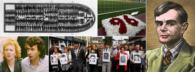 Clockwise from top left: Slave ship plan, Hillsborough memorial, Alan Turing, Bloody Sunday memorial march, and Guildford Four member Gerry Conlon