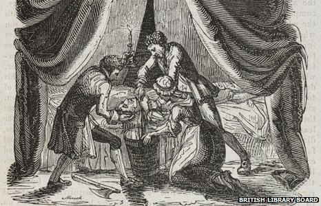 Image from Newgate Calendar showing Catherine Hayes cutting off her husband&#039;s head