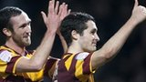 Bradford goalscorers Rory McArdle (left) and Carl McHugh celebrate after beating Aston Villa