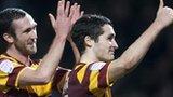 Bradford goalscorers Rory McArdle (left) and Carl McHugh celebrate after beating Aston Villa
