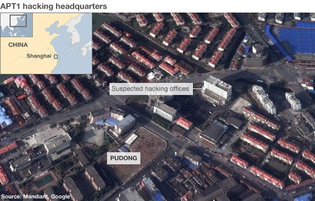 Satellite image showing the office building in Shanghai suspected of being the headquarters of the Chinese hackers