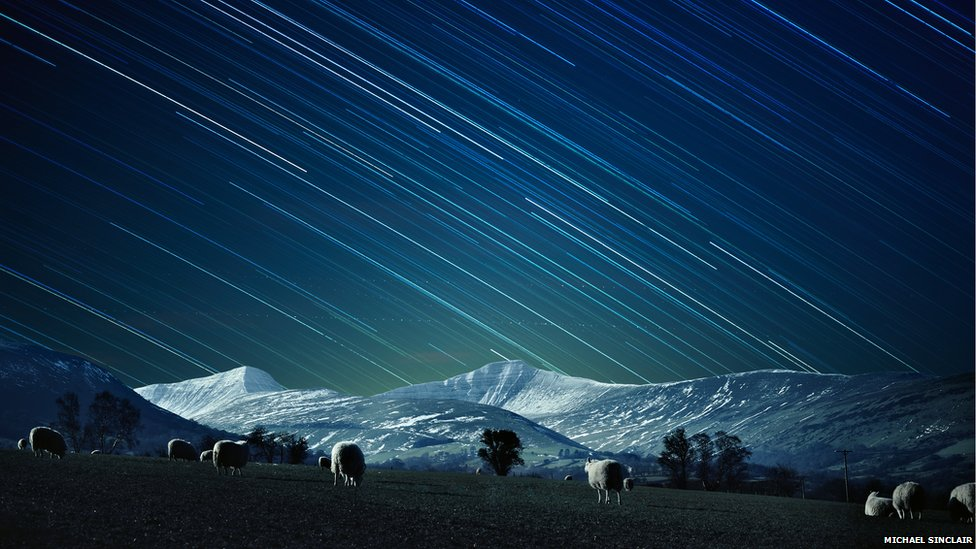 Photograph of the Brecon Beacons at night