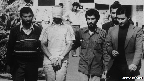 A US hostage shown to the cameras by Iranian captors