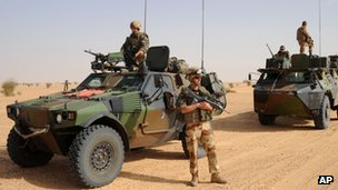 French soldiers and armoured vehicles in northern Mali 17 February 2013