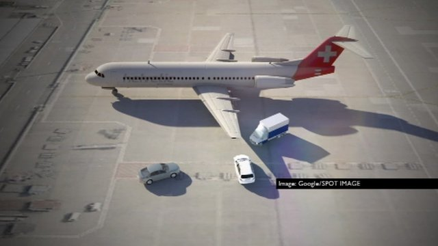 Graphic shows plane and three vehicles