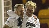 Gary Mackay-Steven congratulates Johnny Russell on his goal for Dundee United