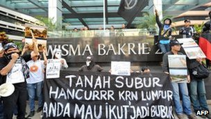 Protestors hold banners against the Bakrie group outside their office