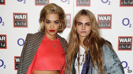 Rita Ora and model Cara Delevingne both attended the gig