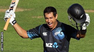 Ross Taylor celebrates his century
