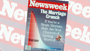 "Cover of Newsweek magazine from June 1986, with the headline ""The Marriage Crunch"""