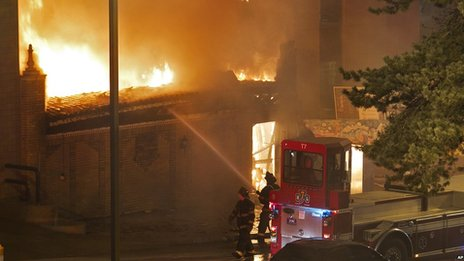 Fire crews at the scene in Kansas City. 19 Feb 2013