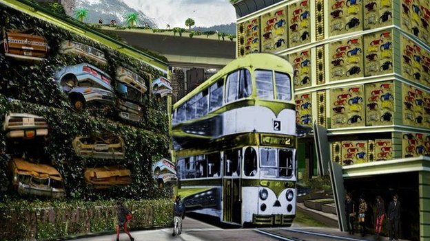 Tram working with cars decaying in pile.