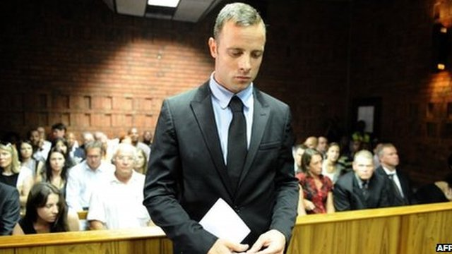 South African sprinter Oscar Pistorius on Wednesday, the second day of his bail hearing, in Pretoria, South Africa