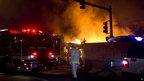 Fire crews at the scene. 19 Feb 2013