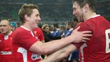 Jonathan Davies and Ryan Jones celebrate victory against France