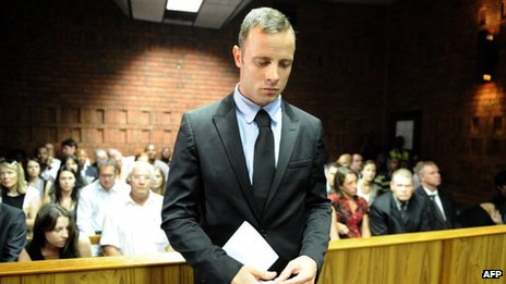 Oscar Pretorius on the second day of his bail hearing in Pretoria, South Africa, on Wednesday