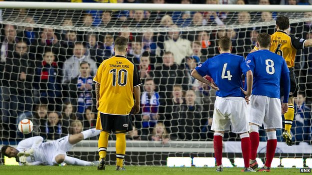 Rangers goalkeeper Neil Alexander saves a penalty from Annan&#039;s Scott Chaplain