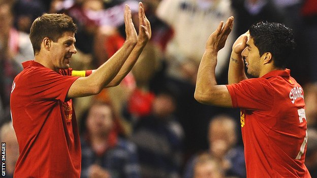 Liverpool captain Steven Gerrard and striker Luis Suarez