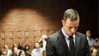 South African sprinter Oscar Pistorius appears in court in Pretoria. 20 Feb 2013