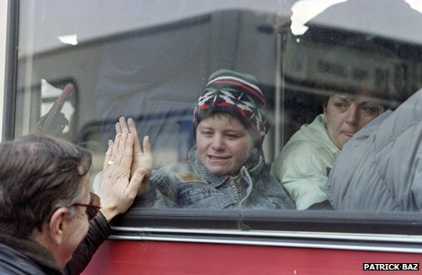 Boy leaving Sarajevo on bus