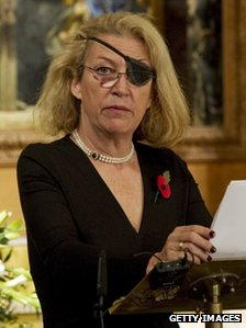 Marie Colvin during at service commemorating journalists, cameramen and support staff who have died in war zones, November 2010