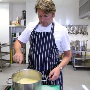 James Martin stirring custard