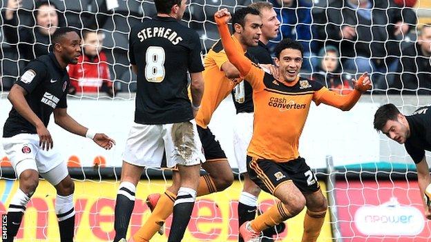 Gedo celebrates scoring for Hull City