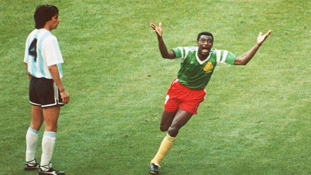 Cameroon beat Argentina in 1990 World Cup